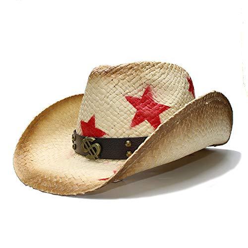 Frauen Männer Strohhut Western Cowboy Hat Mit Punk Geld Band Star Lady Cowgirl Jazz Hat Papa Hut (Farbe : Natürlich, Größe : 58 cm) -