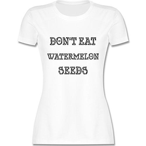 Schwangerschaft - Don't eat watermelon seeds - tailliertes Premium T-Shirt mit Rundhalsausschnitt für Damen Weiß