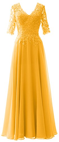 MACloth Elegant Half Sleeves Mother of Bride Dress V Neck Evening Formal Gown yellow