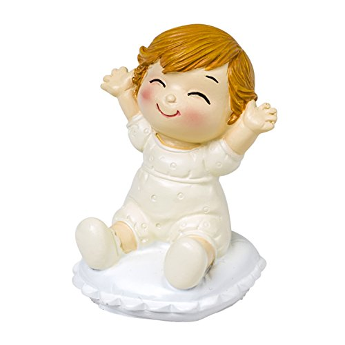 Mopec Cake Figure Boyfriends with Baby Sitting, Polyresin, Ivory, 5x5x8 cm