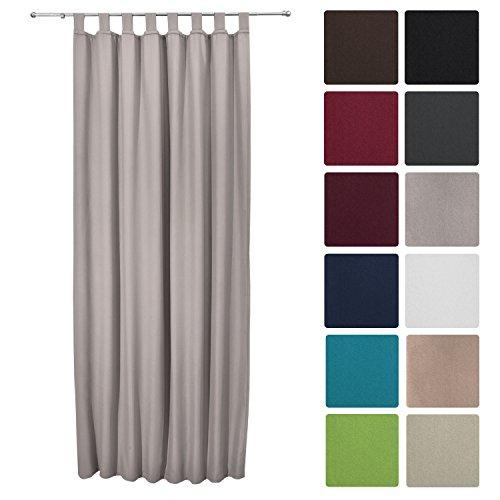 Beautissu Thermovorhang Amelie 140x245 cm Schlaufen-Schal Vorhang blickdicht & Verdunkelung - isolierende Gardine Grau