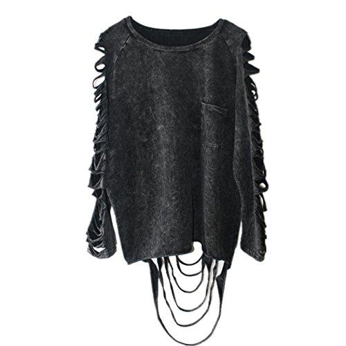 Anna-Kaci Damen Schnitte Sommer Herbst Fashion Langarm lose beiläufige Punkrock Hippie-Tassel Frauen T-Shirt Bluse Tops - Anna T Shirt Kostüm
