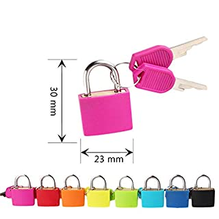 Small Key Padlock Colorful Travel Mini Strong Stainless Steel Padlock with 2 Keys Safely Lock Interior or Exterior Gates, Sheds, Lockers, Bikes, Tool Box, or Containers (G)