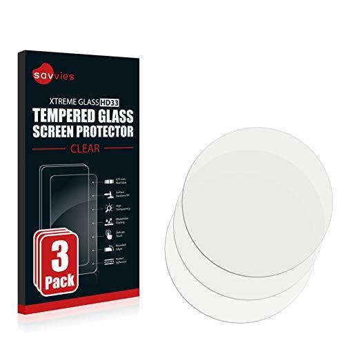 Savvies Panzerglas kompatibel mit Fossil Q Venture (3.Gen) [3er Pack] - Echtglas Schutzfolie 9H