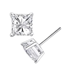Yo Yo Honey Singh Inspired Big Square Silver Stud Earrings For Men Enhanced With Swarovski Elements (7mm)