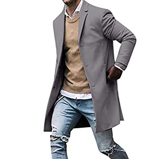 Men's Autumn Winter Slim Fit Parka Trenchcoats, Bovake Mens Long Sleeve Casual Button Suit Jacket Long Double Breasted Blazer Overcoat Windcheater Coat Plus Size (Size:XXXL, Gray)