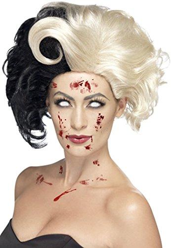 Damen Kostüm Evil Madame Zombie Cruella De Ville Perücke Deluxe Schwarz & Blond