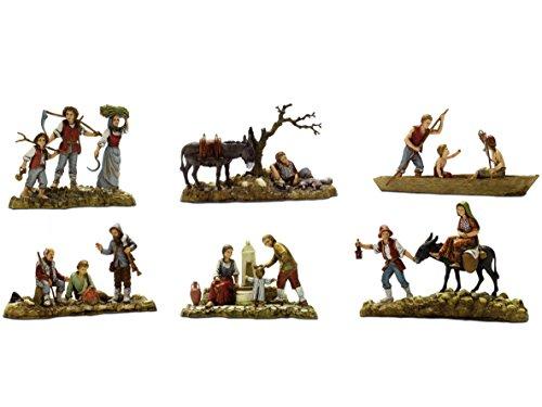 Bertoni 6vita quotidiana miniature nativity statue, legno,, 10x 30x 30cm