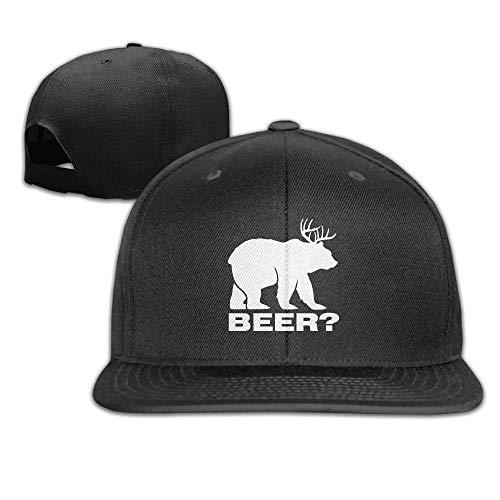 fgjfdjj JIAU Hua Unisex Deer Beer Bear Flat Hat Buckle Strap Sports Cricket Cap - 6-panel-ball-cap