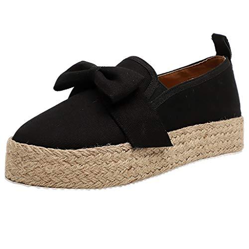 MakefortuneEspadrille Flats für Damen, Slip on Espadrille Loafers Sneakers Schuhe Schwarz Weiß Blau Rot Damen Canvas/Faux-Suede/Leder Espadrilles für Damen Mephisto Suede Heels