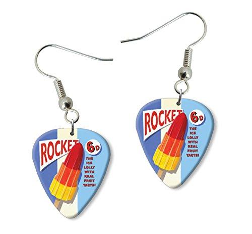 Rocket Ice Lolly Martin Wiscombe Púa Para Guitarra Earrings Vintage Retro