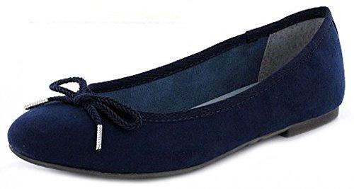 Tamaris 1-22142-28/805 Damen Ballerina flacher Boden ohne ausgeprägten Absatz Blau (Blau)