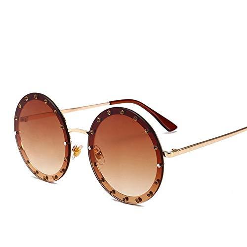 MoHHoM Sonnenbrille Oversized Runde Niet Designer Sonnenbrille Frauen Vintage Metallrahmen, Klare Gläser Sonnenbrille Pink Gelb Blau Brillen Kaffee