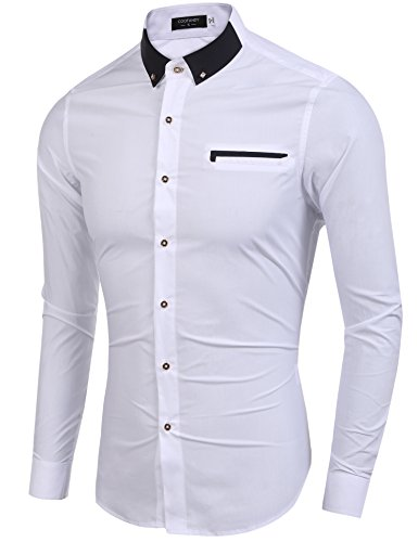 Burlady Hemd Businesshemd Herren Langarmhemd Slim Fit Tailored Langarm mit Kentkragen Bügelfrei Freizeit Hochzeit Business -