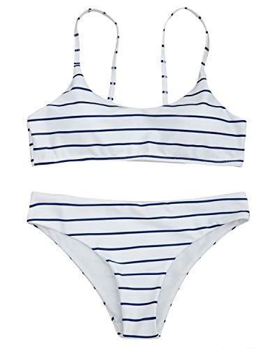 Nautische Badeanzüge (ZAFUL Bikini-Set nautisch gestreifte Gepolstertes BH Swimsuit Spaghettiträger Swimwear Bademode Badeanzug Bikinis Sets Large Blauer weißer Streifen)