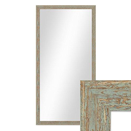 PHOTOLINI Wand-Spiegel 56x106 cm im Holzrahmen Grau-Grün Shabby-Chic Vintage/Spiegelfläche 50x100 cm