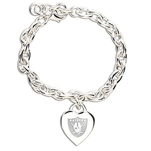 NFL Oakland Raiders Carded Heart Charm Bracelet Jewelry