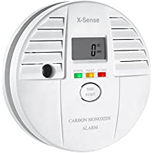 X-Sense CO05S - Detector monóxido de carbono alarma CO, pantalla digital, batería, color blanco