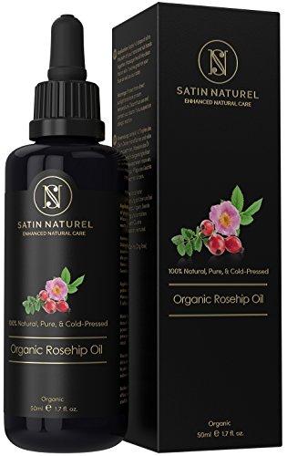 Bio Hagebuttenöl 50ml von höchster Qualität - 100% kalt gepresst & nativ & zertifiziert biologisch - In Lichtschutz Flasche - für zarte & junge Haut, gesunde Haare, Nägel, Körper & Gesicht