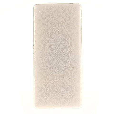 "Sony Xperia XA Hülle, SsHhUu Kratzfeste Clear Durchsichtig Ultra Slim TPU Schutzhülle Bumper Tasche Cover Case für Sony Xperia XA / F3111 / F3113 (5.0"") - Weiße Spitze Blume"