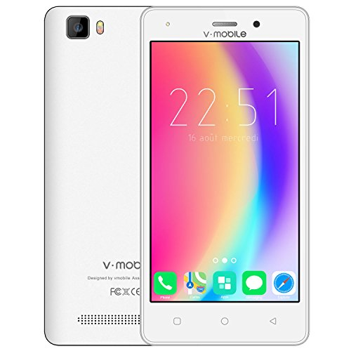 Smartphone pas cher 4g v mobile a10 Telephone portable debloqué pas cher 4g sans forfait 5,0 Pouces HD IPS (Android 7,0 8 Go ROM 5,0MP Caméra 2800mAh Batterie Dual SIM) WIFI Sans Fil GPS Étanche Tactile (Blanc)