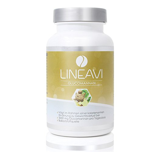 LINEAVI Glucomannan • 3000 mg glucomannan • plant fiber from the konjac root, which supports weight loss • satiation capsules • made in Germany • 120 capsules