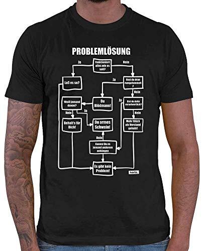 HARIZ  Herren T-Shirt Problemlösung Es Gibt Kein Problem Statement Spruch Plus Geschenkkarte Schwarz L