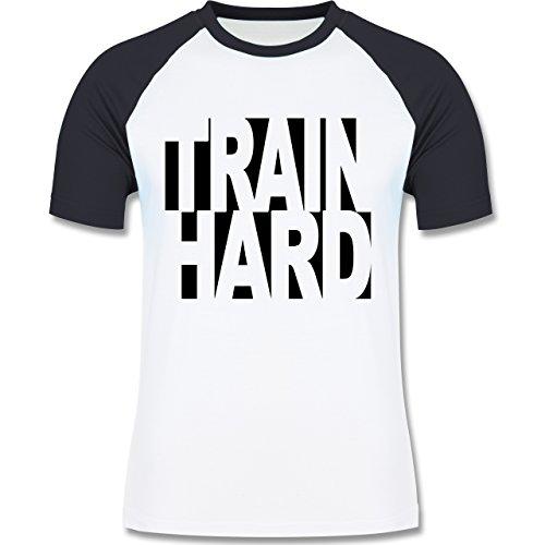 CrossFit & Workout - Train Hard - zweifarbiges Baseballshirt für Männer Weiß/Navy Blau