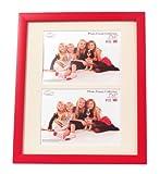 Inov8 PFVD-RERE-DA2 Traditionell Briten Foto und Bilderrahmen, 25 x 30 cm, Dual Blende 2x 13 x 18 cm, Packung mit 2, value regal rot