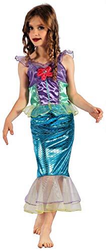 (Magicoo süßes Meerjungfrau Kostüm Kinder Mädchen Größen 110 bis 140 - Faschingskostüm Mädchen Meerjungfrauen Kostüm (122/128))
