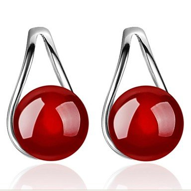 DUlijun Boucles d'oreille goujon ( Imitation de perle / Plaqué argent ) Mariage / Soirée / Quotidien / Casual red