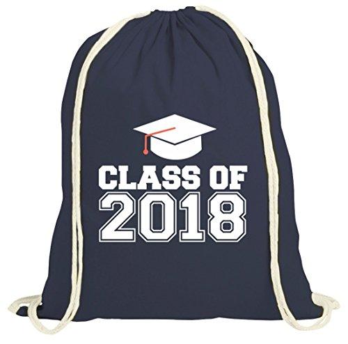 Geschenkidee Abschluss Abitur natur Turnbeutel Gym Bag Abi 2018 - Class Of 2018 dunkelblau natur