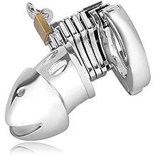 Cinturón de Castidad Masculino Urlove ®, Jaula para Pene de Hombre de Acero Inoxidable con Anillo Regulable de 38-50 mm