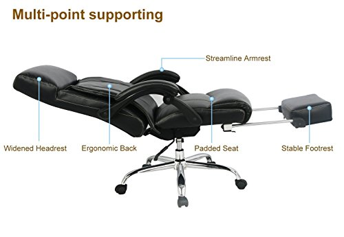 Cheapest VIVA OFFICE Reclining Office Chair, High Back Bonded Leather Chair with Footrest Special