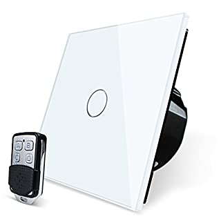 WALLPAD 3 Colors Glass Panel Touch Sensor Remote Control Wall Switch, (5-580W Remote Control LED Dimmer Switch, White)