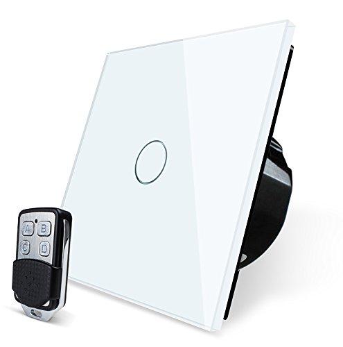 Foto Wallpad WiFi e RF di vetro pannello touch switch, no Hub required, funziona con Amazon ALEXA assistente, Google e Google Nest, bianco