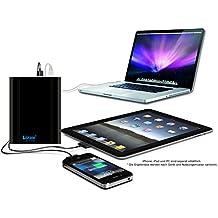 Extra Lizone por super capacidad portátil Batería externa cargador con cuaderno, portátil manzano MacBook Air, MacBook Pro, MacBook, potencia Book y iBook ; HP Compaq Pavilion, Mini, ElifeBook, ProBook, Presario, la envidia y la G; IBM Lenovo ThinkPad E IdeaPad; USB-port para iPad Air, iPad Mini, iPad e iPhone ; Samsung Galaxy Nexus, Moto, G, LG, HTC y más - de aluminio del cuerpo como original MacBook cuerpo (no plástico) - 18 meses de garantía 40000mAh Schwarz