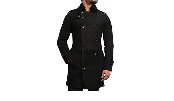 LEATHER TRENCH COAT PEA COAT-BNWT MEN/'S STYLISH BELTED BLACK LONG COAT