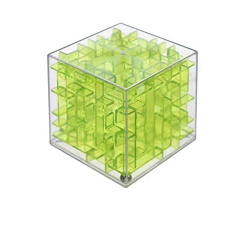 (SHENSHOU Kinder Puzzle Zauberwürfel 3D Maze Rolling Beads Frühe Bildung Intelligenz Rubik Spielzeug,Transparentgreen,S)