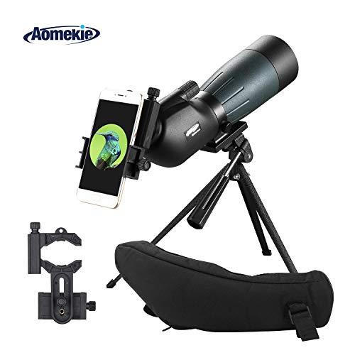Aomekie Telescopio Terrestre 20-60x60 Impermeable Telescopios Terrestres con Trípode Teléfono Inteligente y Bolso BAK4 Prisma para la Observación de Aves Tiro al Blanco