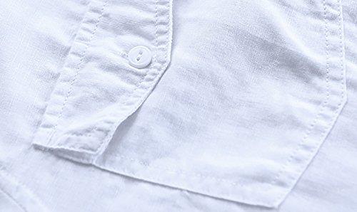 Icegrey Herren Leinen Hemd Mit Brusttaschen Stehkragen Einfarbig Langarm Shirt Freizeit Hemd Weiß