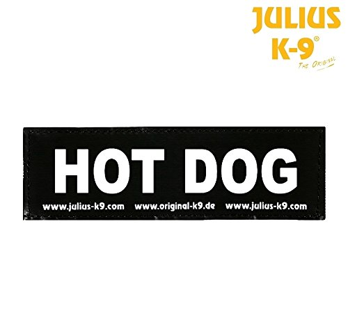 Julius-K9 Klettverschluss Hot Dog–Paar von Etiketten für Latz Julius-Power oder Belt,...