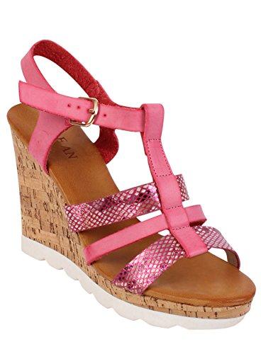 Cale en liège pour chaussures à talon ouvert Sangles sac à dos bandoulière été Sandales orteils Rose - rose