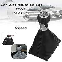 Moligh doll Black Leather Universal Car Automatic Gear Stick Shift Knob Shifter Lever