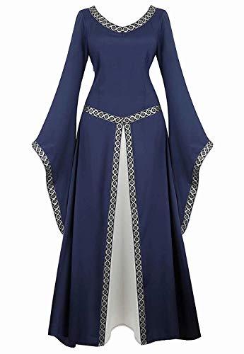 aizen Mittelalter Kleid Renaissance mit Trompetenärmel Party Kostüm bodenlang Vintage Retro Costume Cosplay Damen Blau XL