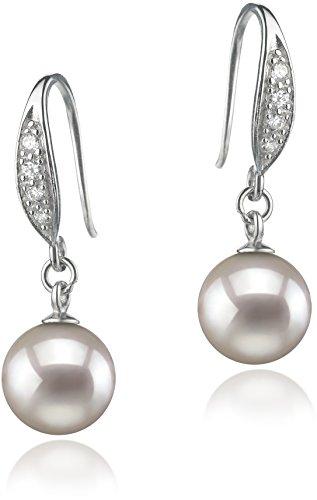 Paar Ohrringe mit weißen, 8-9mm großen Janischen Akoya Perlen in AA-Qualität, ()