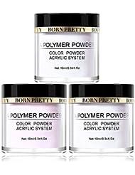 BORN PRETTY Süßes Nagel-Acrylpulver-Sammlungs-Set von 3 Farben-Rosa weißes klares Pulver-Erbauer-Berufsacrylnagel-System