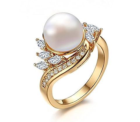 Vnox 18 carats zircone imitatif cuivre plaquée akoya perle de culture en eau douce pour les japonais de l'anneau