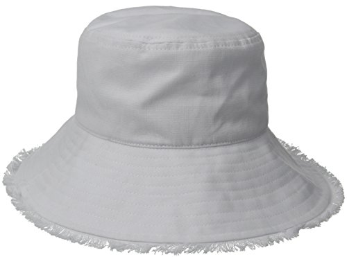 physician-endorsed-womens-castaway-canvas-bucket-packable-hat-with-fringe-rated-upf-50-white-one-siz