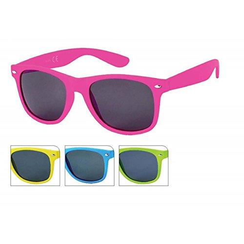 Chic-Net Sonnenbrille einfarbig knallig Unisex Nerd Brille dunkel getönt 400 UV Wayfarer gelb